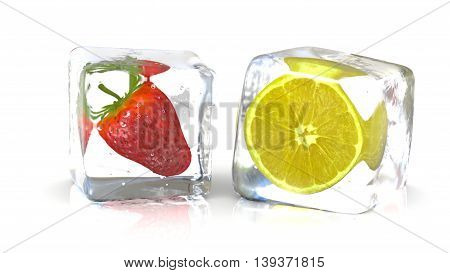 Strawberry and a lemon into fresh ice cubes. 3D Rendering