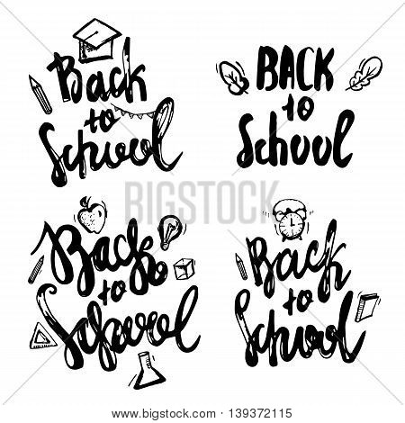 Back to School lettering hand drawn design. Label Set isolated on white background with apple, book, pencil
