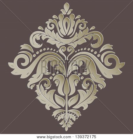 Oriental golden ornament. Fine traditional pattern with volume 3D elements, shadows and highlights