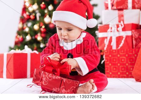 Baby Child Santa Claus With Gift