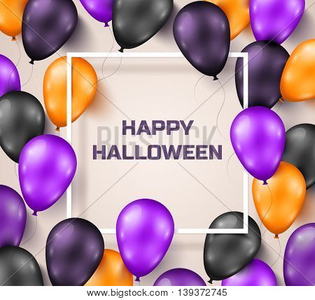 Halloween Background with Black, Violet and Orange Balloons. Vector Illustration. Night Party Decorations, Bright Backdrop with Thin Square Frame.