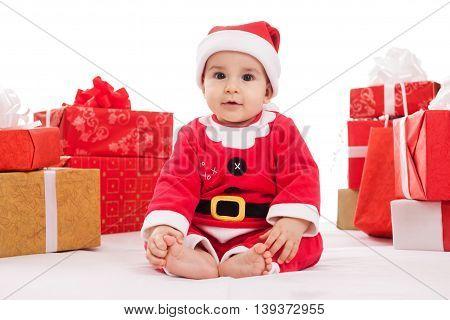 Adorable Baby Boy In Santa Claus Costume