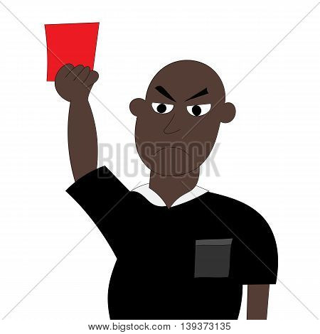 Football referee with red card. Vector illustration. EPS10