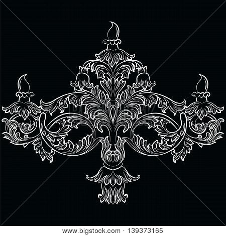 Fabulous Rich Baroque Classic chandelier. Luxury decor accessory design. Vector illustration sketch