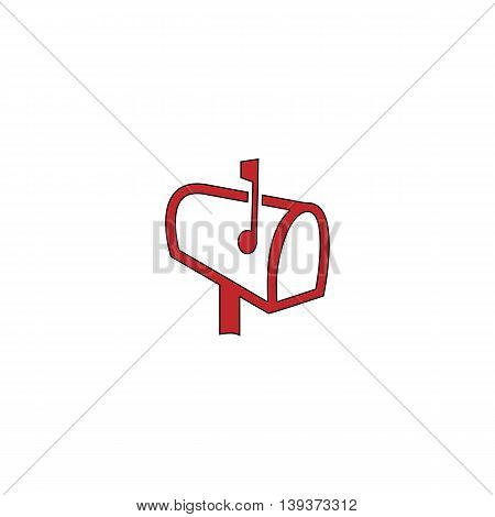 Mailbox. Red flat simple modern illustration icon with stroke. Collection concept vector pictogram for infographic project and logo