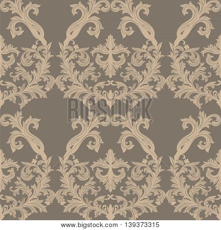 Vector Baroque Vintage floral Damask pattern. Luxury Classic ornament Royal Victorian texture for textile fabric. Taupe and gray color