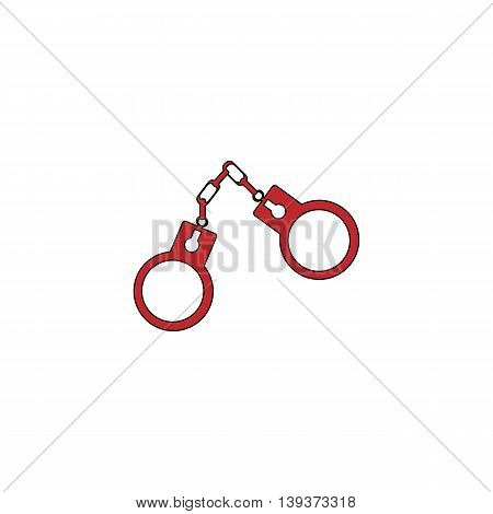 Handcuffs. Red flat simple modern illustration icon with stroke. Collection concept vector pictogram for infographic project and logo