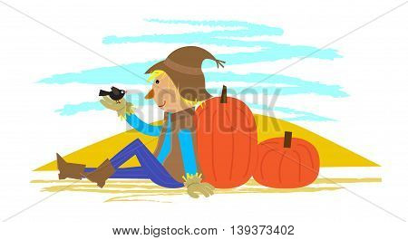Scarecrow holding a small bird is sitting on the ground and leaning on a pumpkin. Eps10