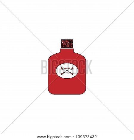 Bottle of poison. Red flat simple modern illustration icon with stroke. Collection concept vector pictogram for infographic project and logo