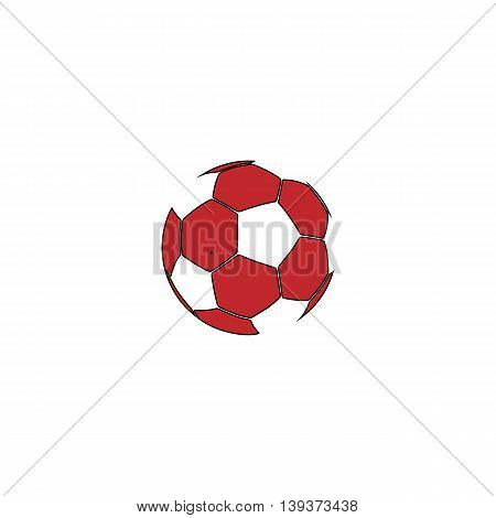 Football ball - soccer. Red flat simple modern illustration icon with stroke. Collection concept vector pictogram for infographic project and logo