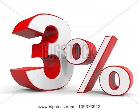 Discount 3 percent off sale. 3D illustration.