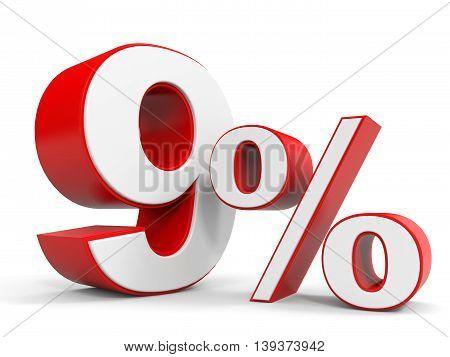 Discount 9 percent off sale. 3D illustration.