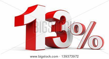Discount 13 percent off sale. 3D illustration.
