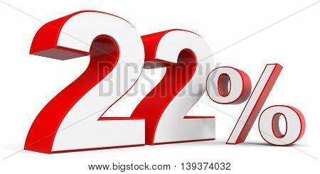 Discount 22 percent off sale. 3D illustration.