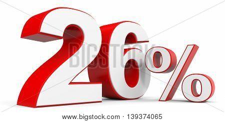 Discount 26 percent off sale. 3D illustration.