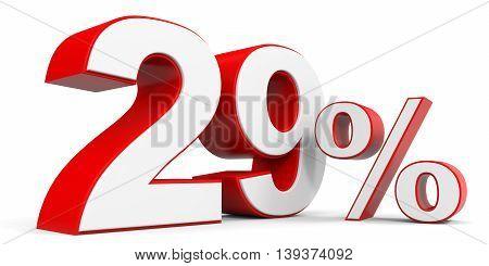 Discount 29 percent off sale. 3D illustration.