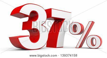 Discount 37 percent off sale. 3D illustration.