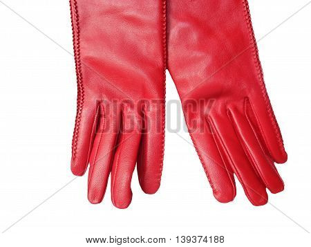 Red leather women's gloves isolated on white background