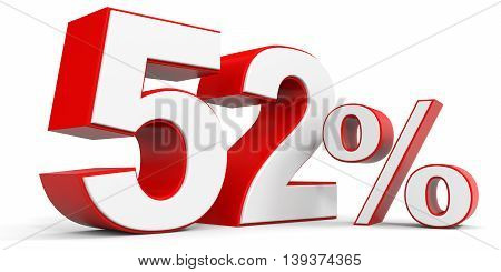Discount 52 percent off sale. 3D illustration.