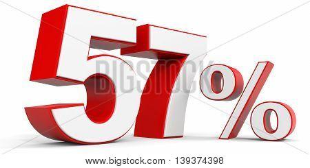 Discount 57 percent off sale. 3D illustration.