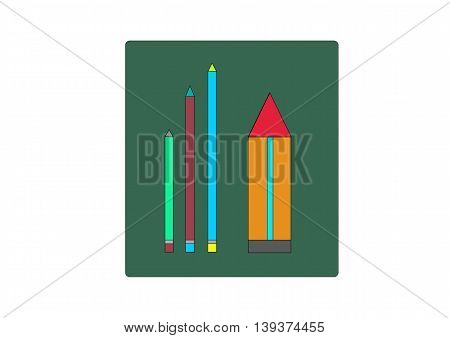 illustration which depicts three small pencil and one large