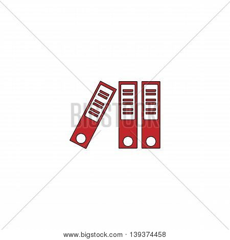 Office folder. Red flat simple modern illustration icon with stroke. Collection concept vector pictogram for infographic project and logo