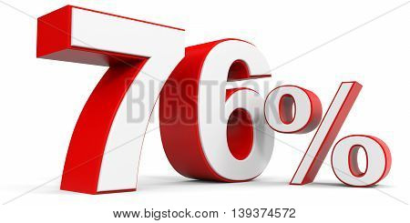 Discount 76 percent off sale. 3D illustration.