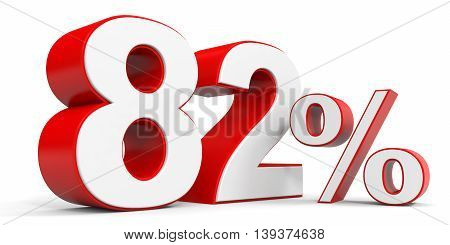 Discount 82 percent off sale. 3D illustration.