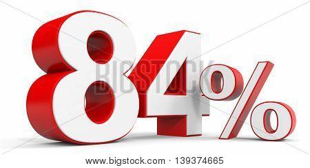 Discount 84 percent off sale. 3D illustration.