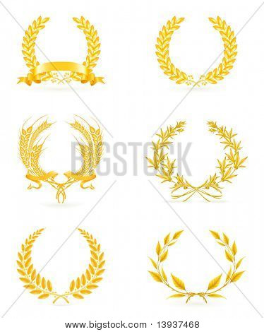 Golden wreath set, eps10