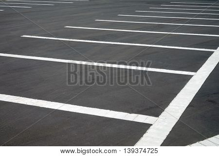 Parking layout on the pavement. Diagonal view.