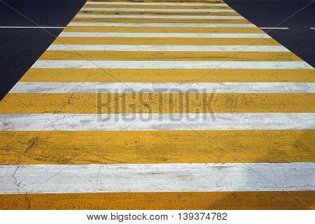 Crosswalk across the road, horizontal photo with prospect.