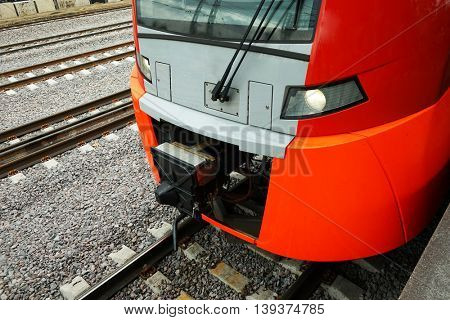 Electric train on the railway. Horizontal image.