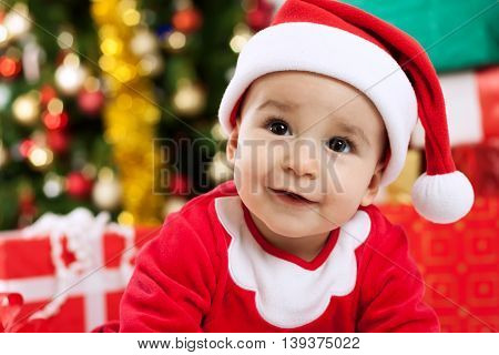 Adorable Baby Santa Looking Up