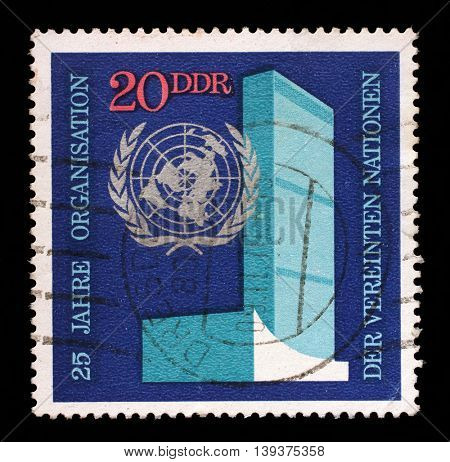 ZAGREB, CROATIA - JULY 03: A stamp printed in GDR shows The 25th Anniversary of the United Nations, circa 1970, on July 03, 2014, Zagreb, Croatia