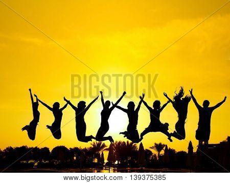 Backlit Group Excited