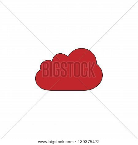 Cloud icon. Red flat simple modern illustration icon with stroke. Collection concept vector pictogram for infographic project and logo