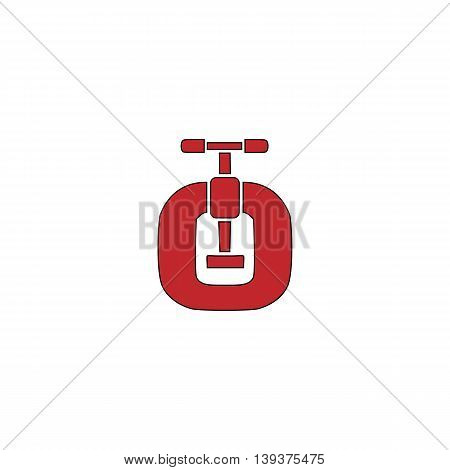 Bench vices. Red flat simple modern illustration icon with stroke. Collection concept vector pictogram for infographic project and logo
