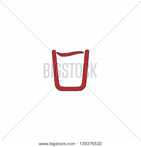 Glass of water. Red flat simple modern illustration icon with stroke. Collection concept vector pictogram for infographic project and logo