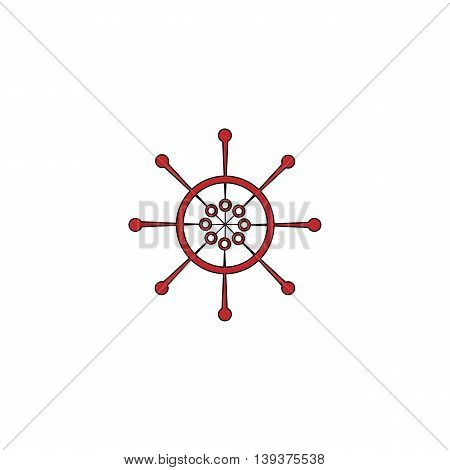 Yacht wheel. Helm silhouette. Red flat simple modern illustration icon with stroke. Collection concept vector pictogram for infographic project and logo
