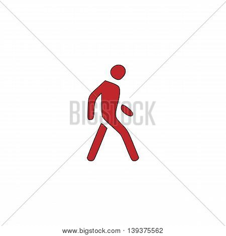 Pedestrian. Red flat simple modern illustration icon with stroke. Collection concept vector pictogram for infographic project and logo