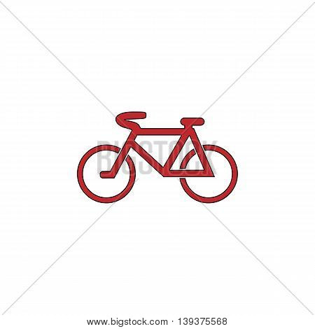 Mountain bike. Red flat simple modern illustration icon with stroke. Collection concept vector pictogram for infographic project and logo