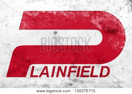 Flag Of Plainfield, Indiana, Usa, With A Vintage And Old Look