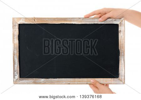 hands with blackboard