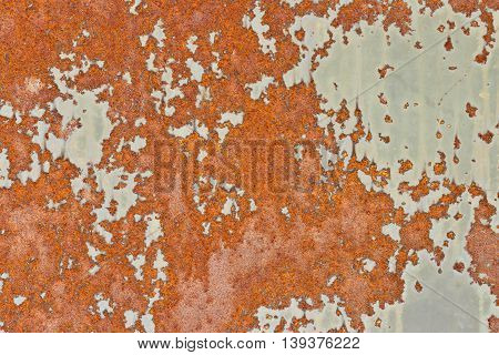 Old painted surface with peeling paint and rust