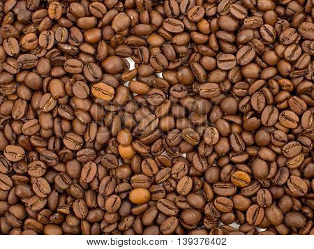 Coffee beans aroma drink ingredient  closeup background