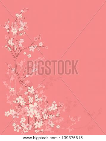 spring season background with blooming sakura tree - pink branches and flowers outlines