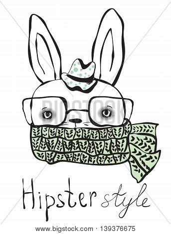 Hipster rabbit boy. Fashion for true hipster