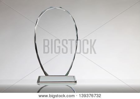 crystal or glass trophy on the white background