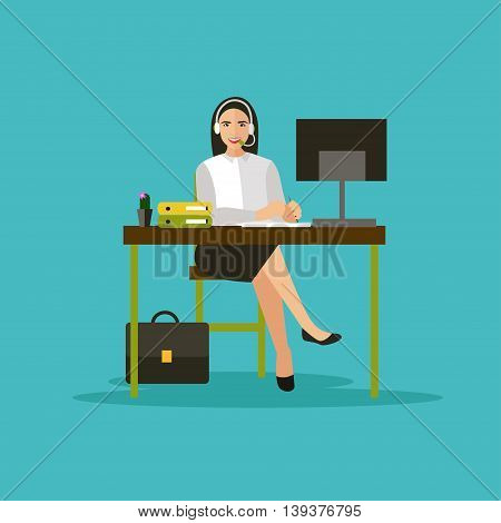 Female operator in call center concept vector banner. Customer service and support company office. People work in call center. Woman with headset and computer.